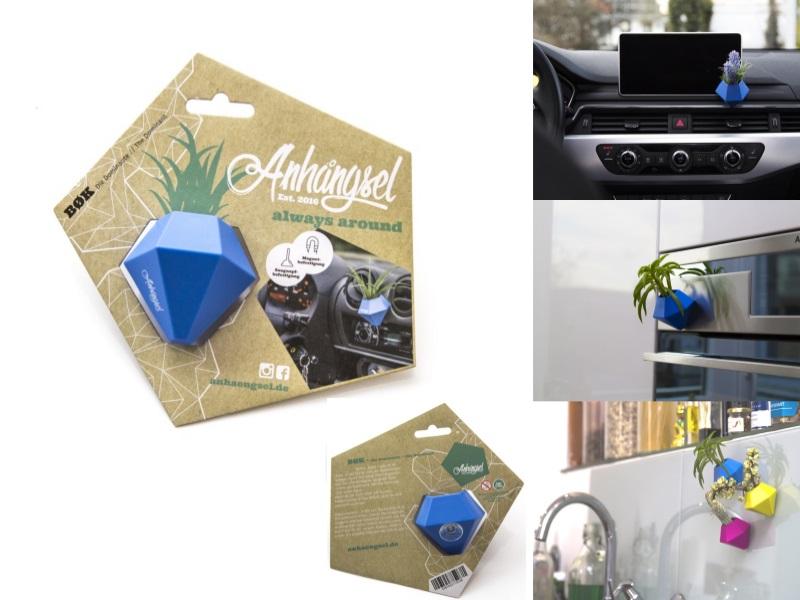"""Anhängsel - Die Allzweck Mini-Vase """"BOK"""" Mini-Behälter  (Blau)"""