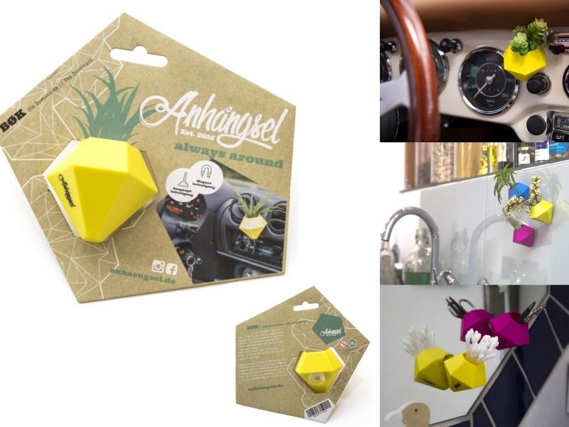 """Anhängsel - Die Allzweck Mini-Vase """"BOK"""" Mini-Behälter  (Gelb)"""