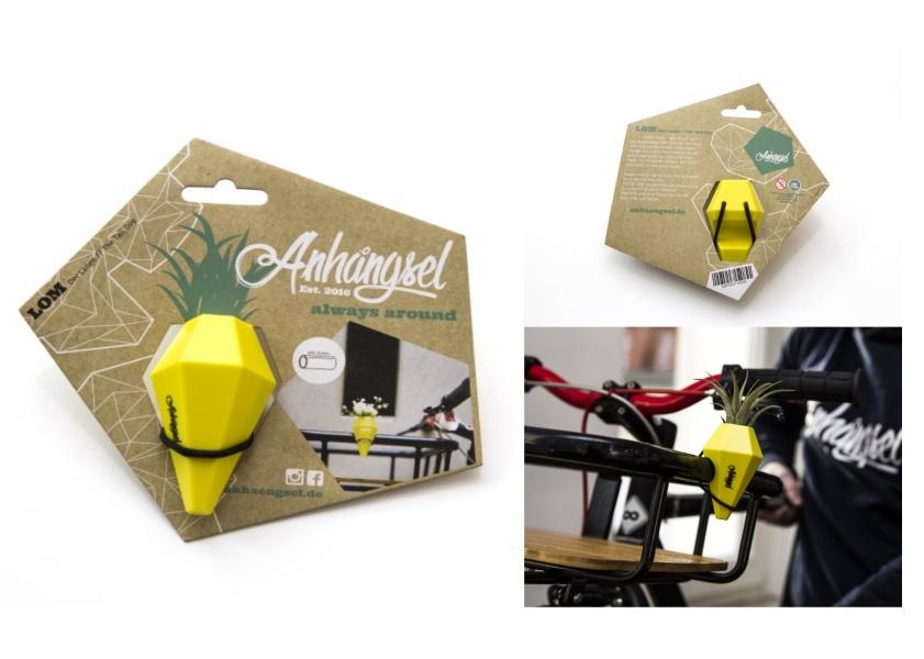 "Anhängsel - Mini Fahrradvase ""LOM"" Lenker-Vase (Gelb)"