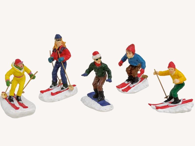 5 teiliges Set Weihnachtliche Miniatur-Figuren Winterwelt Wintersport Ski und Snowboard