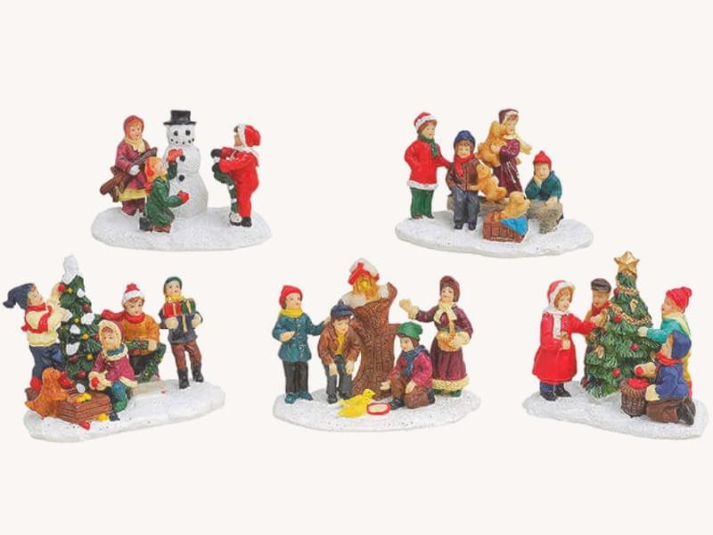 5er-Set Miniatur Weihnachtsfigur Winterszene Lichthaus Winterwelt Figur - Kinder im Schnee - aus Poly (bunt) B8 x T4 x H6cm