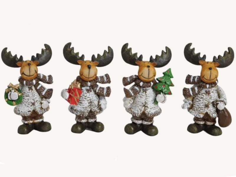 4er-Set Dekofiguren lustige Elche mit Schal in Weihnachts Dekor aus Poly 4-fach sortiert (braun weiss) H7 cm
