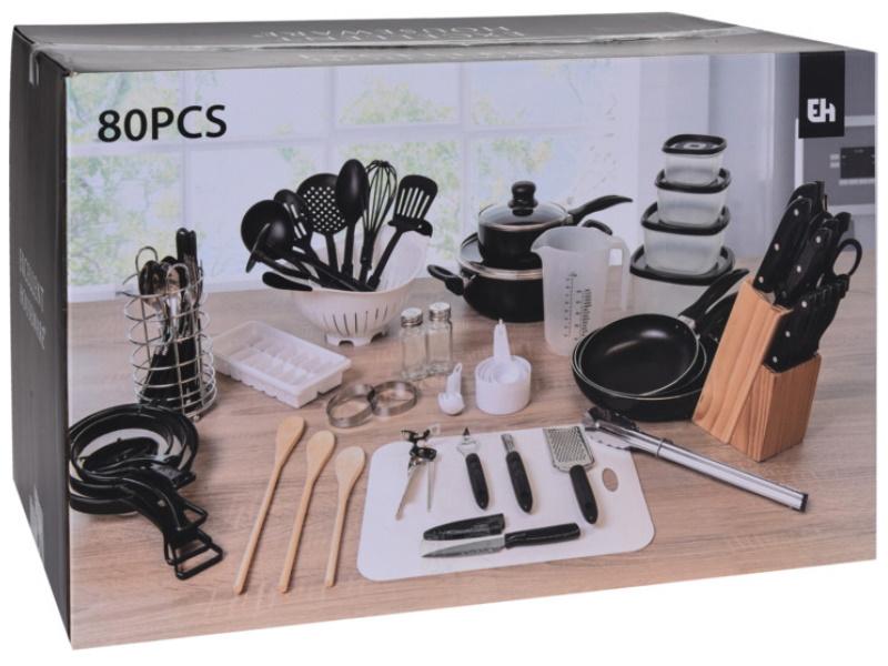 80tlg. Starterset Erste Wohnung Küchen-Set Erstausstattung Kochen, Backen, Zubereiten