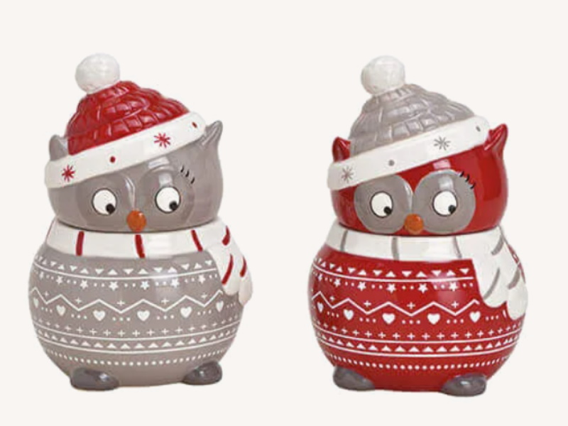 2er-Set Keksdose Eule aus Keramik 2-fach sortiert Dose für Kandis Gebäck Bonbons (rot grau) B13 x H19 x T13cm