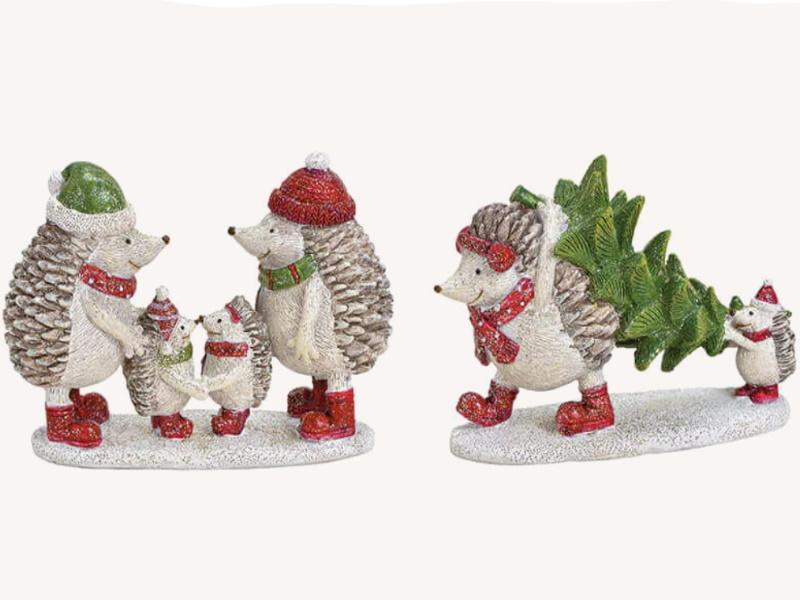 2er-Set Dekofiguren süße Igel Familie und Familie mit Baum aus Poly 2-fach sortiert (bunt) B12 x H9 x T4cm