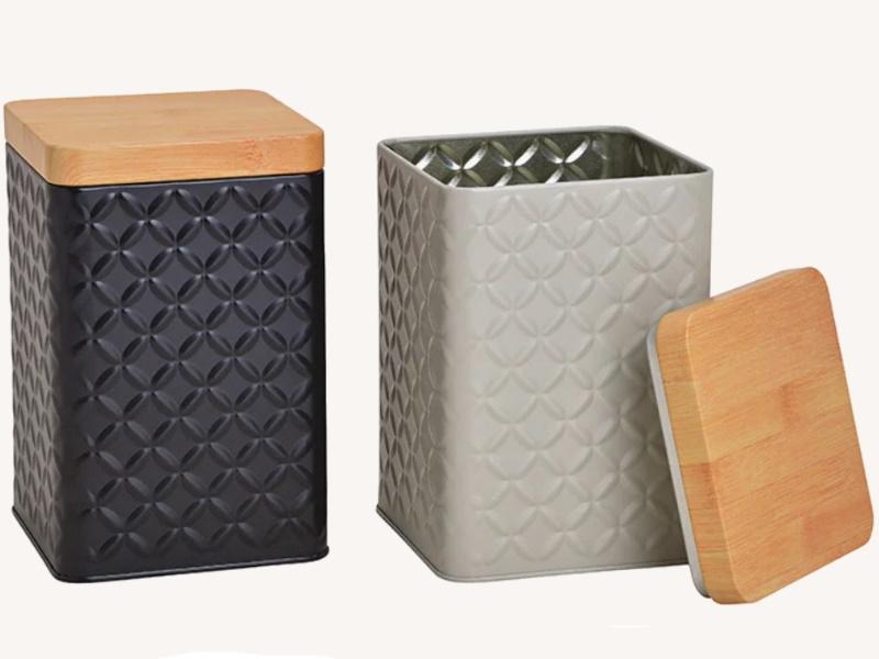 2er-Set Vorratsdosen mit Deckel in Holzoptik - Dose aus Metallblech gestanzt 2-fach sortiert (schwarz grau) B10 x H16 x T10cm