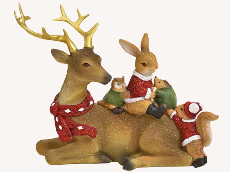 Dekofigur Hirsch mit Freunde liegend aus Poly - Weihnachtsdekoration Winterszene (bunt) B20 x H16 x T10cm