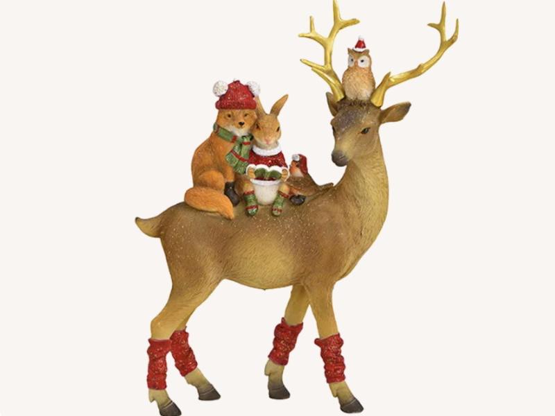 Dekofigur Hirsch mit Freunde stehend aus Poly - Weihnachtsdekoration Winterszene (bunt) B20 x H25 x T8cm