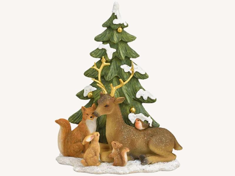 Dekofigur Hirsch liegend mit Freunde in Winterwald aus Poly - Weihnachtsdekoration Winterszene (bunt) B17 x H20 x T10cm