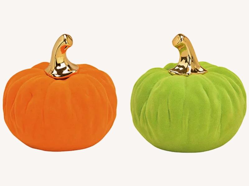 2er-Set Exklusiver Kürbis beflockt aus Ton 2-fach sortiert - Herbst Winter Dekofigur (orange grün) D12 x H12cm
