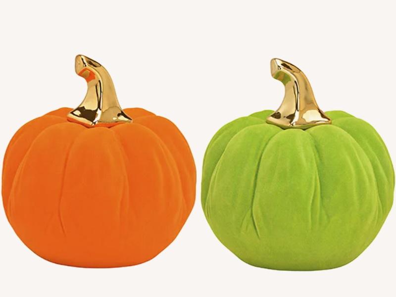 2er-Set Exklusiver Kürbis beflockt aus Ton 2-fach sortiert - Herbst Winter Dekofigur (orange grün) D15 x H16cm