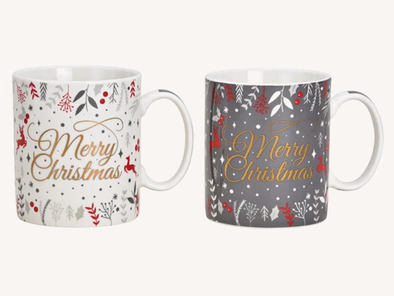 2er-Set Jumbo Tassen Becher Merry Christmas aus Porzellan 2 fach sortiert 400ml (grau weiß gold) B13 x H10 x T9cm