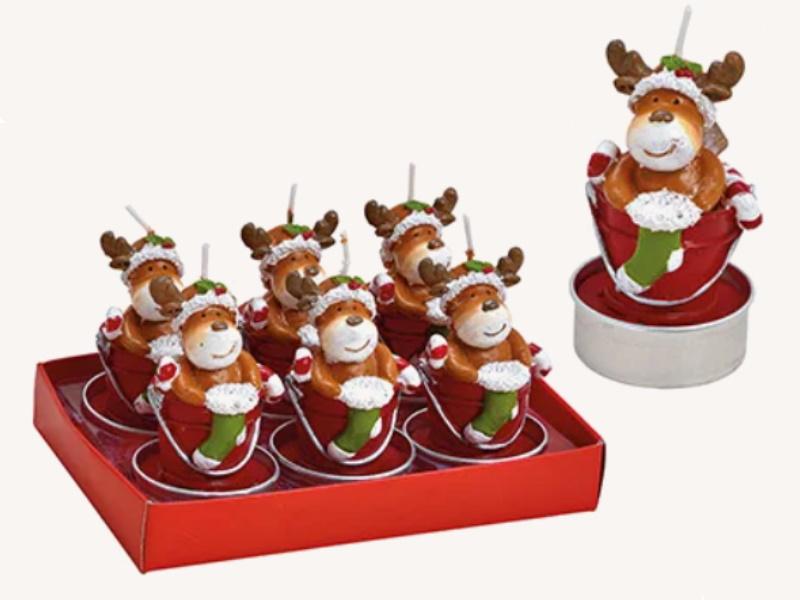 6er-Set Teelichte aus Wachs Elch im Eimer - Formteelicht handbemalt (rot weiss) D4 x H7cm