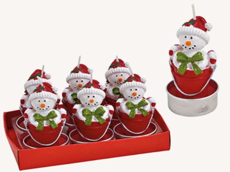 6er-Set Teelichte aus Wachs Schneemann im Eimer - Formteelicht handbemalt (rot weiss) D4 x H7cm