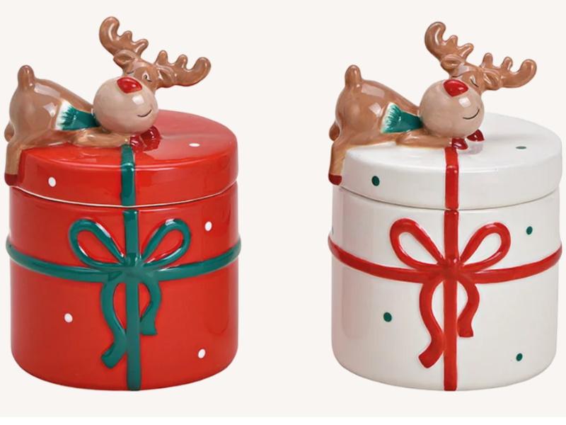 2er-Set Keksdose Elch Dekor aus Keramik 2-fach sortiert Dose für Pralinen Gebäck Bonbons (rot weiss) B10 x H14 x T10cm