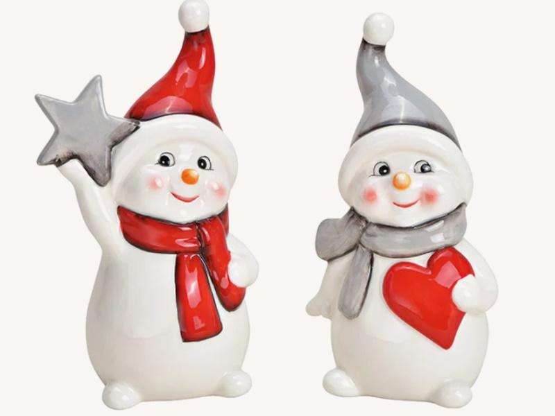 2er-Set Dekofiguren Schneemann aus Keramik 2-fach sortiert Dekoaufsteller Weihnachtsdeko (weiss) B9 x H18 x T7cm