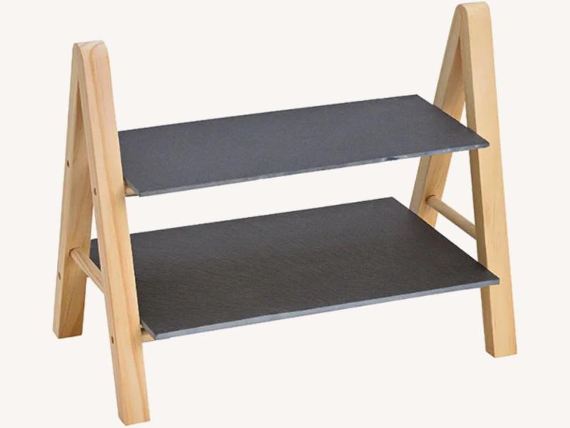 Moderne Etagere mit 2 Etagen aus Schiefer und Holz - Ideal zum Servieren von Kuchen Käse Snacks (schwarz) B32 x H27 x T18cm