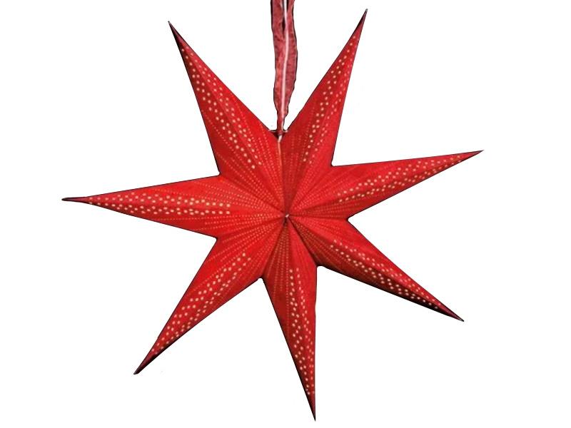Leuchtstern mit 7 Zacken beflockt aus Papier Pappe - Stern beleuchtet inkl. Fassung und Glühbirne (rot) Var.1 - D 60cm