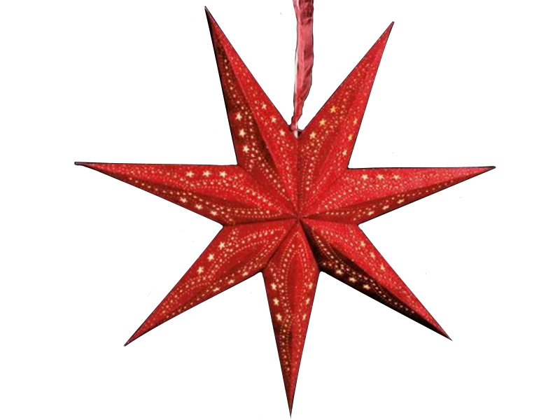 Leuchtstern mit 7 Zacken beflockt aus Papier Pappe - Stern beleuchtet inkl. Fassung und Glühbirne (rot) Var. 2 - D 60cm