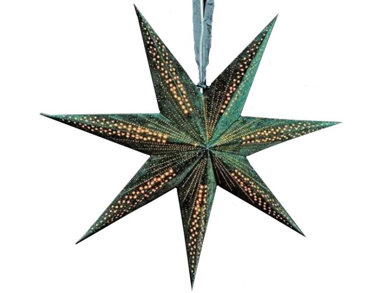 Leuchtstern mit 7 Zacken beflockt aus Papier Pappe - Stern beleuchtet inkl. Fassung und Glühbirne (grün) Var.1 - D 60cm