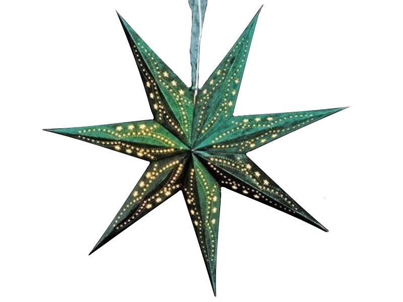 Leuchtstern mit 7 Zacken beflockt aus Papier Pappe - Stern beleuchtet inkl. Fassung und Glühbirne (grün) Var. 2 - D 60cm
