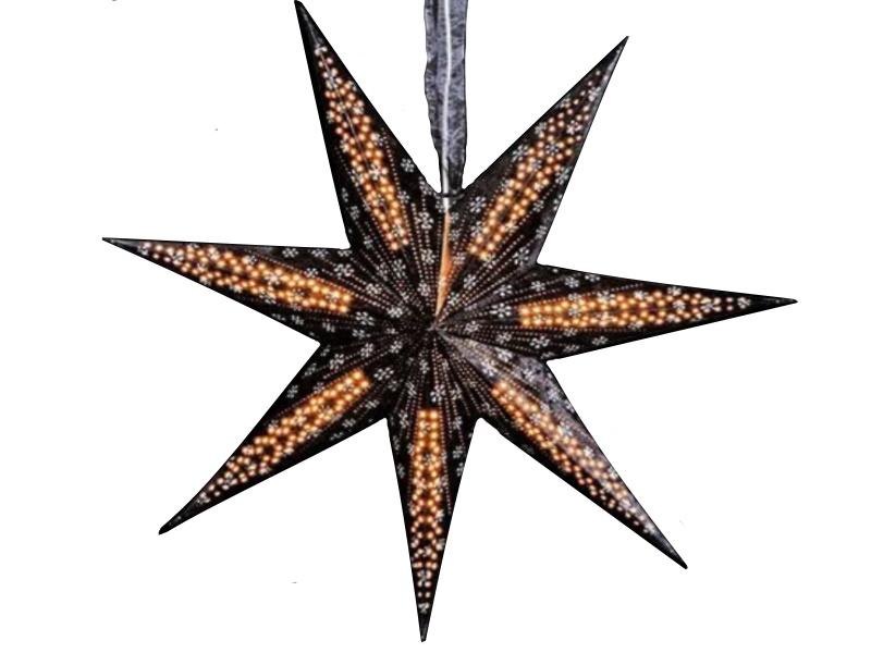 Leuchtstern mit 7 Zacken beflockt aus Papier Pappe - Stern beleuchtet inkl. Fassung und Glühbirne (schwarz) Var.1 - D 60cm