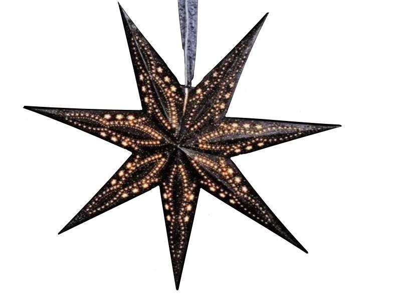 Leuchtstern mit 7 Zacken beflockt aus Papier Pappe - Stern beleuchtet inkl. Fassung und Glühbirne (schwarz) Var. 2 - D 60cm