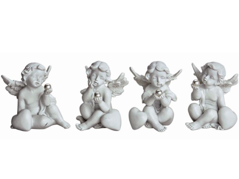4er-Set Dekofiguren Engel mit Perle sitzend aus Poly 4-fach sortiert Glücksbringer Wunschengel (weiss) H7cm