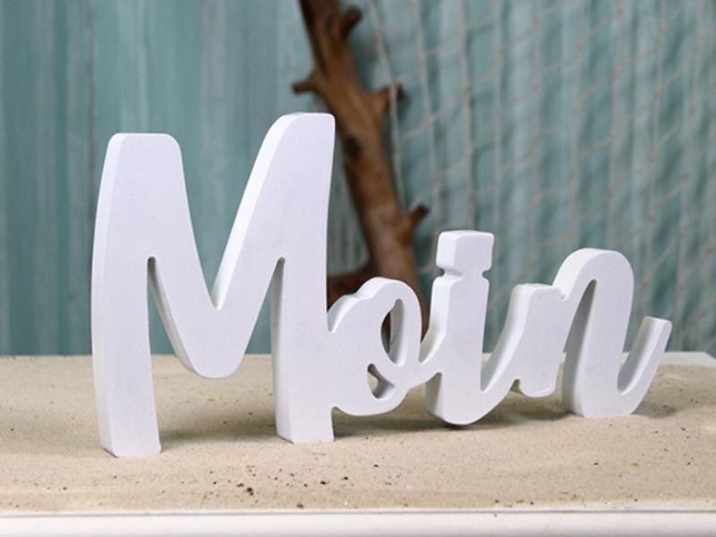 "Schriftzug ""Moin"" maritimer Deko-Aufsteller (weiss) Breite 30cm x Höhe 15,4cm"