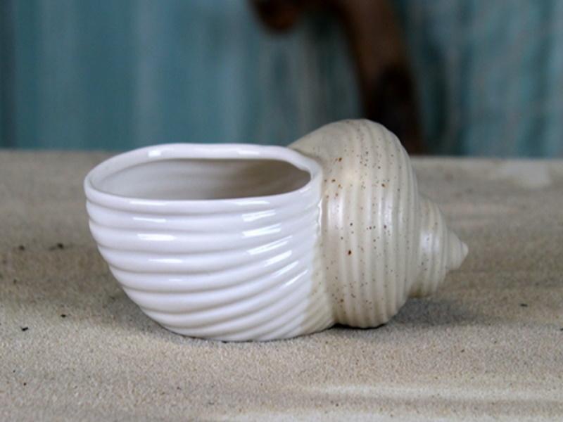 Porzellan-Pflanzschale Muschel Blumentopf (weiss/beige) B11,8cm x T7,8cm x H5,6cm