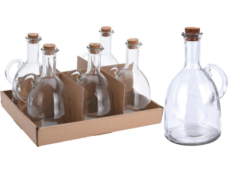 6er-Set Öl- / Essigflasche Klassisch mit Korken 500ml - ideal für Gastronomie D9,5xH19cm
