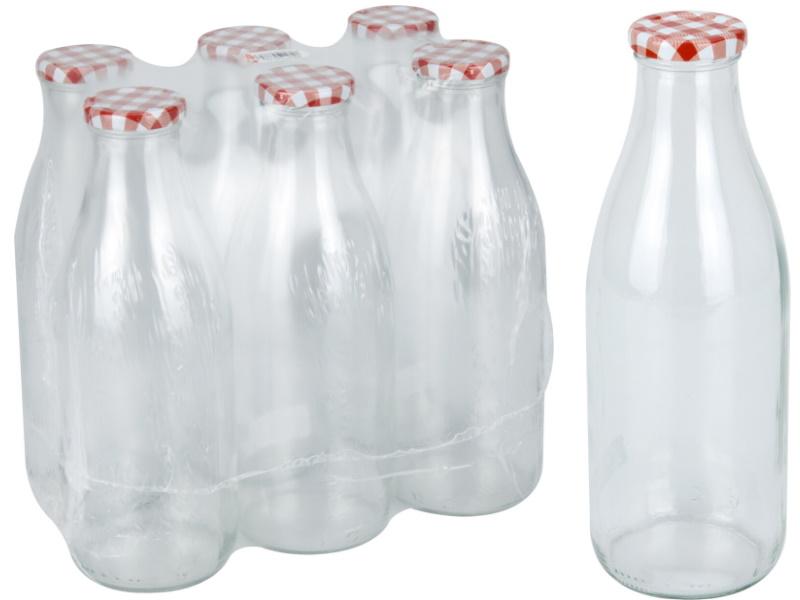 6er-Set Flasche 1L aus Glas mit Deckel - für selbst gemachten Sirup uvm. D7,5xH25,5cm