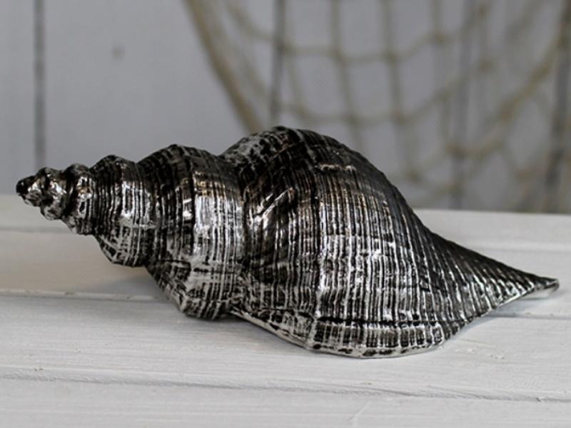 Deko Porzellan-Muschel (altsilber) B 17cm x T 6,5cm x H 6,5cm