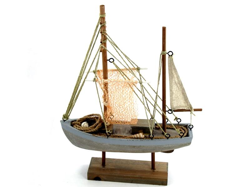 Deko-Schiff Fischkutter aus Holz (braun/blau)  B 29cm x T 9,5cm x H 40,5cm