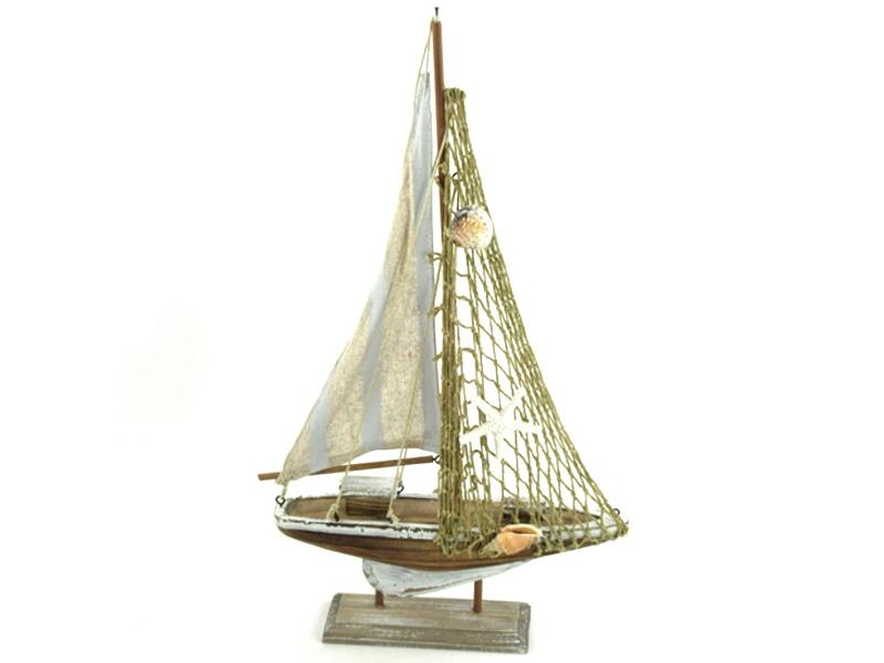 Deko-Schiff Segelschiff aus Holz (braun/weiss/blau) B 24cm x T 5cm x H 42cm