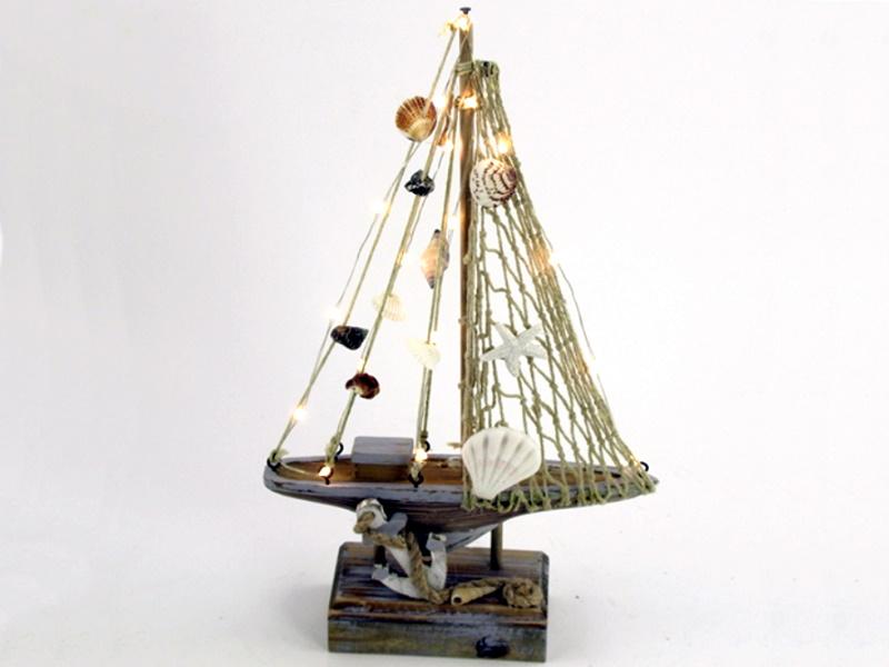 Deko-Schiff Segelschiff aus Holz (braun/blau) B 18,5cm x T 5,8cm x H 31,5cm