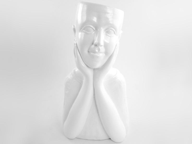 Moderne Figur als Pflanzkopf Blumentopf Keramik (weiss)  B20cm x T 13cm x H 38cm