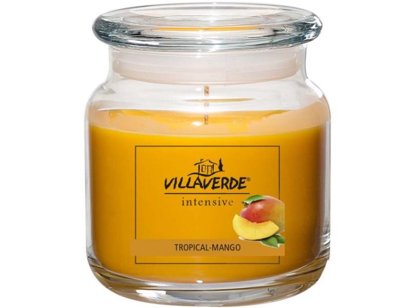 Große Duftkerze im Glas mit Deckel Winterdüfte- ergiebig wirksam anhaltend Duftend - schöne Dekoration! (TROPICAL-MANGO)
