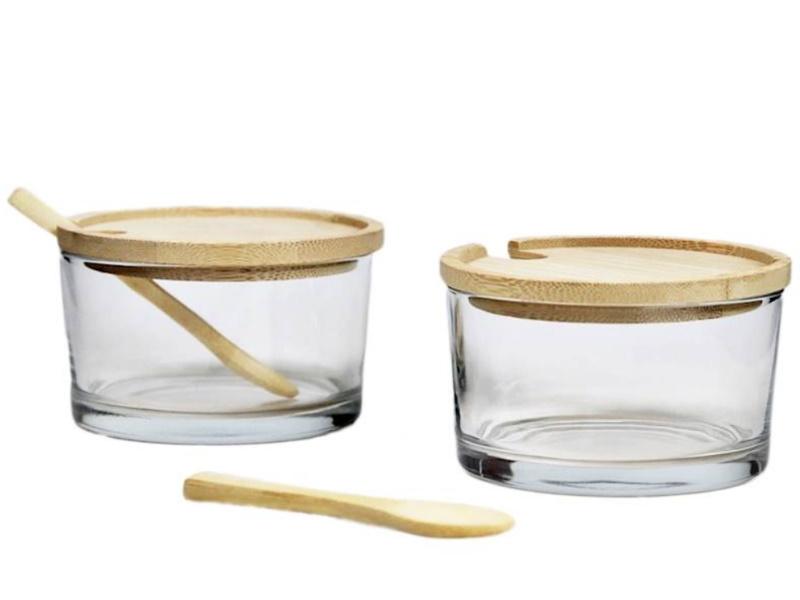 2er-Set Glasdose mit Bambusdeckel