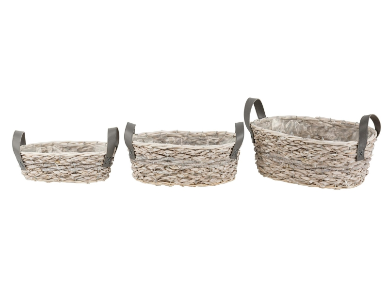 3er-Set Jardiniere aus Gras mit Henkel (braun) - Dekokorb Pflanzschale Pflanzkorb – B30xT14xH10cm; B34xT19xH13cm; B39xT23xH15cm
