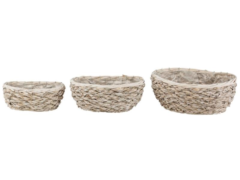 3er-Set Jardeniere aus Wasserhyazinth (natur) - Dekokorb Pflanzschale Pflanzkorb – B23xT15xH10cm; B28xT19xH12cm; B32xT24xH13cm