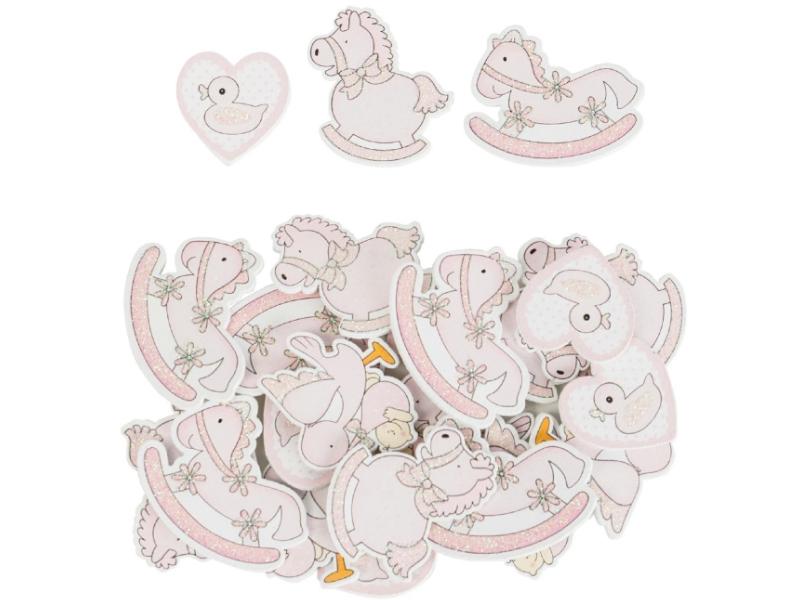 24er-Set Streudekoration Babysortiment verschiedene Motive (rosa) - Streudeko Tischdeko basteln dekorieren - Breite 4cm x Höhe 3,5cm