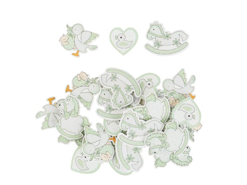 24er-Set Streudekoration Babysortiment verschiedene Motive (grün) - Streudeko Tischdeko basteln dekorieren - Breite 4cm x Höhe 3,5cm