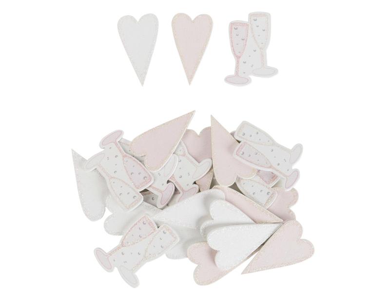 24er-Set Herzen und Sektgläser mit Klebepunkt (rosa weiss) – Streudeko Tischdeko basteln dekorieren – Breite 2cm x Höhe 4cm