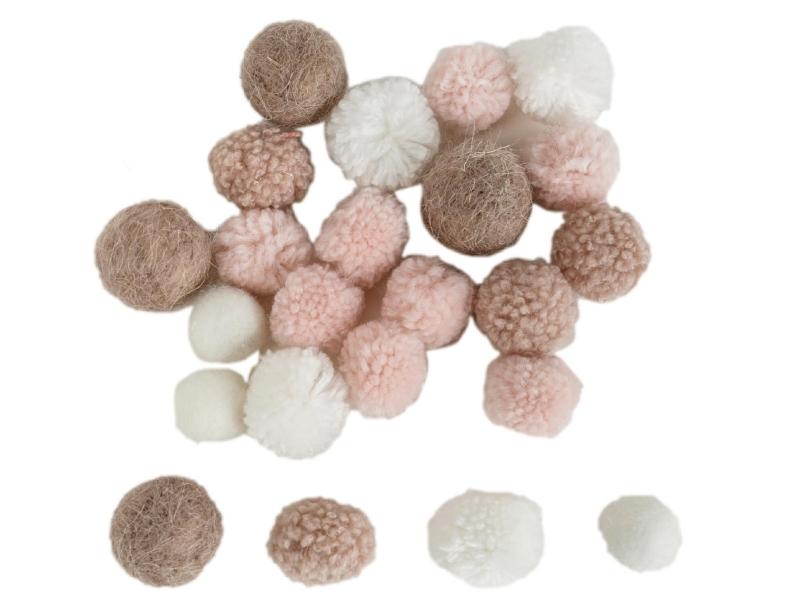 24er-Set Puscheln gemischt sortiert (braun weiss rosa) – Streudeko Tischdeko basteln dekorieren – Ø2cm – Ø4cm