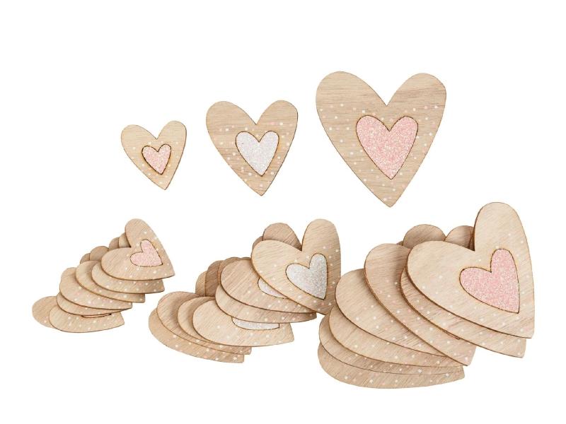24er-Set Herzen aus Holz mit Glitzer in 3 Größen (rosa weiß) – Streudeko Tischdeko basteln dekorieren – B3,5xH4cm; B5,5xH6cm; B7xH7,5cm