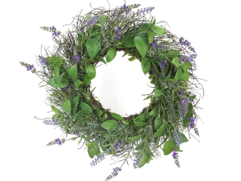 """Kranz """"Lavendel"""" aus Kunsstoff (lila grün) – Dekokranz Türkranz bastel dekorieren - Ø 45cm x Breite/Höhe 10cm"""