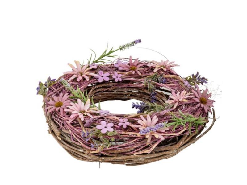 Kranz mit verschiedenen Blüten aus Ästen (lila rosa natur) teilweise aus Kunsstoff – Dekokranz Türkranz Tischkranz - Ø 30cm x Breite/Höhe 8cm