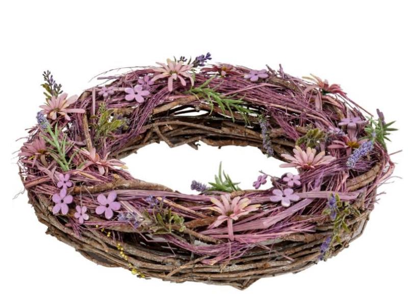 Kranz mit verschiedenen Blüten aus Ästen (lila rosa natur) teilweise aus Kunsstoff – Dekokranz Türkranz Tischkranz - Ø 39cm x Breite/Höhe 9cm
