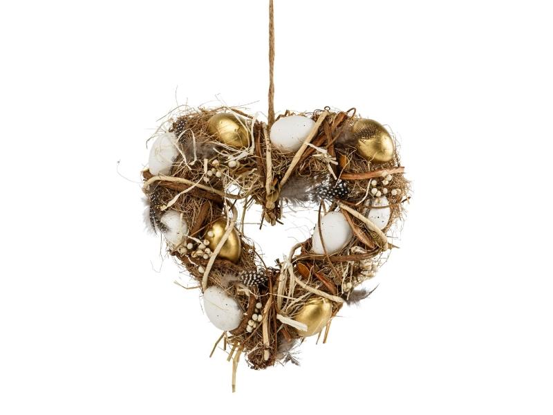 Herz mit Eiern und Federn aus Gräsern und Ästen (natur gold) – Dekokranz Türkranz Tischkranz – Breite 25cm x Höhe 28cm x Stärke Ø 7cm